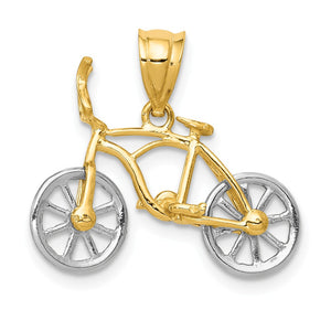14k Two Tone Gold Small 3D Bicycle Pendant - The Black Bow Jewelry Co.