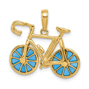 14k Yellow Gold 3D Blue Translucent Acrylic Bicycle Pendant - The Black Bow Jewelry Co.