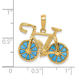 Alternate view of the 14k Yellow Gold 3D Blue Translucent Acrylic Bicycle Pendant by The Black Bow Jewelry Co.