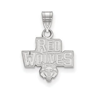 NCAA 10k White Gold Arkansas State Small Pendant - The Black Bow Jewelry Co.