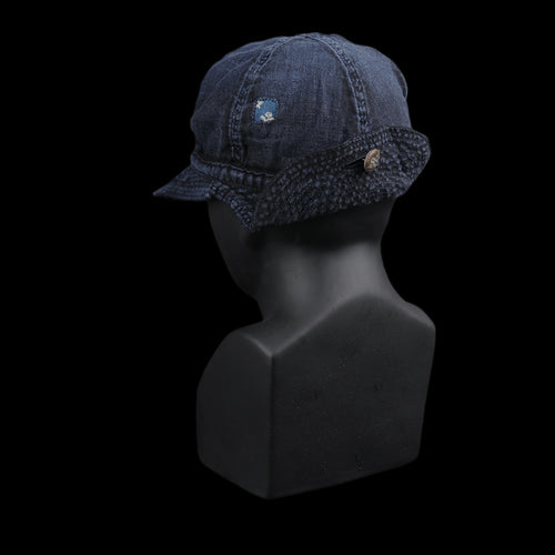 KOUNTRY Linen Herringbone Homes Cap in Indigo