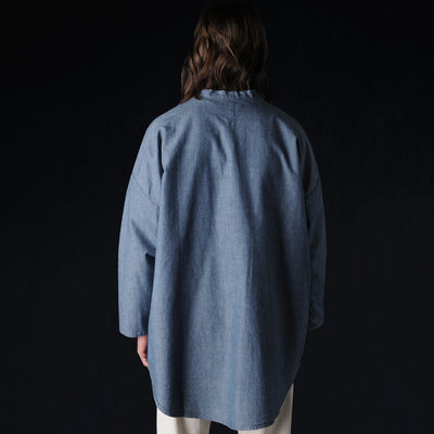 Prospective Flow - Haori Shirt Jacket in Light Blue Chambray