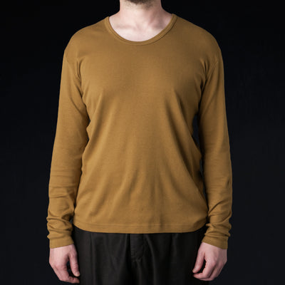 Blurhms - Rootstock Silk Cotton Rib U Neck Tee in Camel