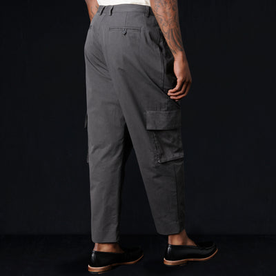 Deveaux - Broken In Chino Single Pleat Cargo Pant in Concrete