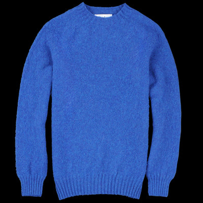 Harley of Scotland for Unionmade - Shetland Shaggy Crew Neck Sweater in Oceanforce
