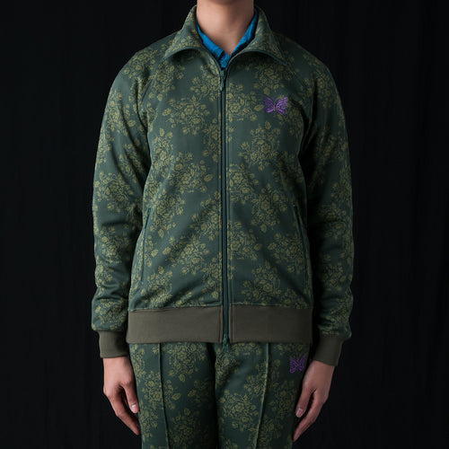 Flower Jacquard Track Jacket in Green