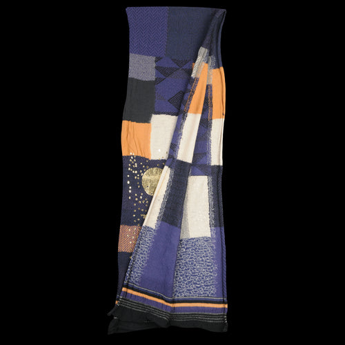 Compressed Wool BORO Patchwork Foil Print Scarf in Navy