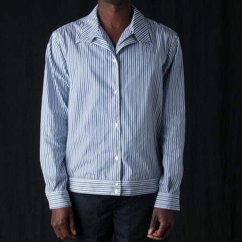 Stripe Double Placket Shirt in Blue on White