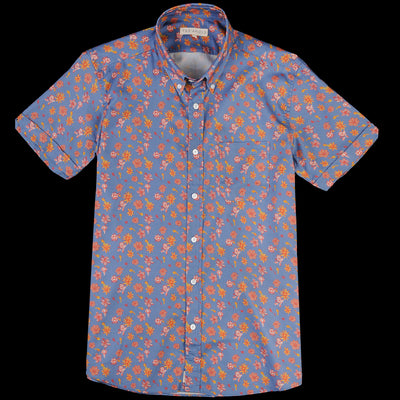 Far Afield - Mod Button Down S/S Shirt in Navarro Floral Blue