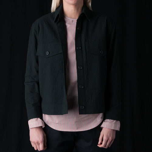 Crinkle Two Pocket Cropped Jacket in Ink