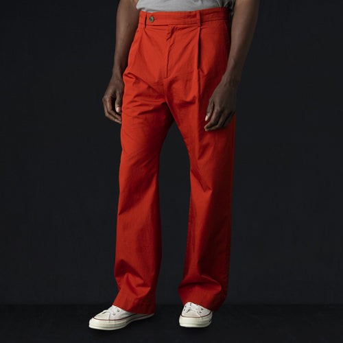 "Fine Twill Pleated ""Air"" Roomy Trouser in Paprika"
