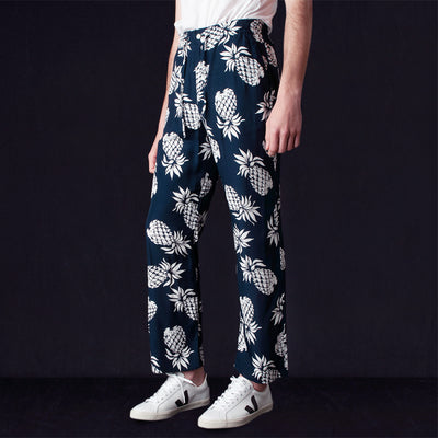 Needles - Rayon Sateen Pineapple String Cowboy Pant in Navy