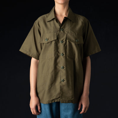 Needles - Back Sateen S/S Army Shirt in Olive