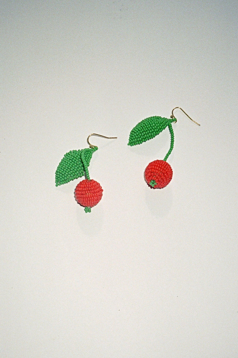 Cherry Beaded Earrings - Red