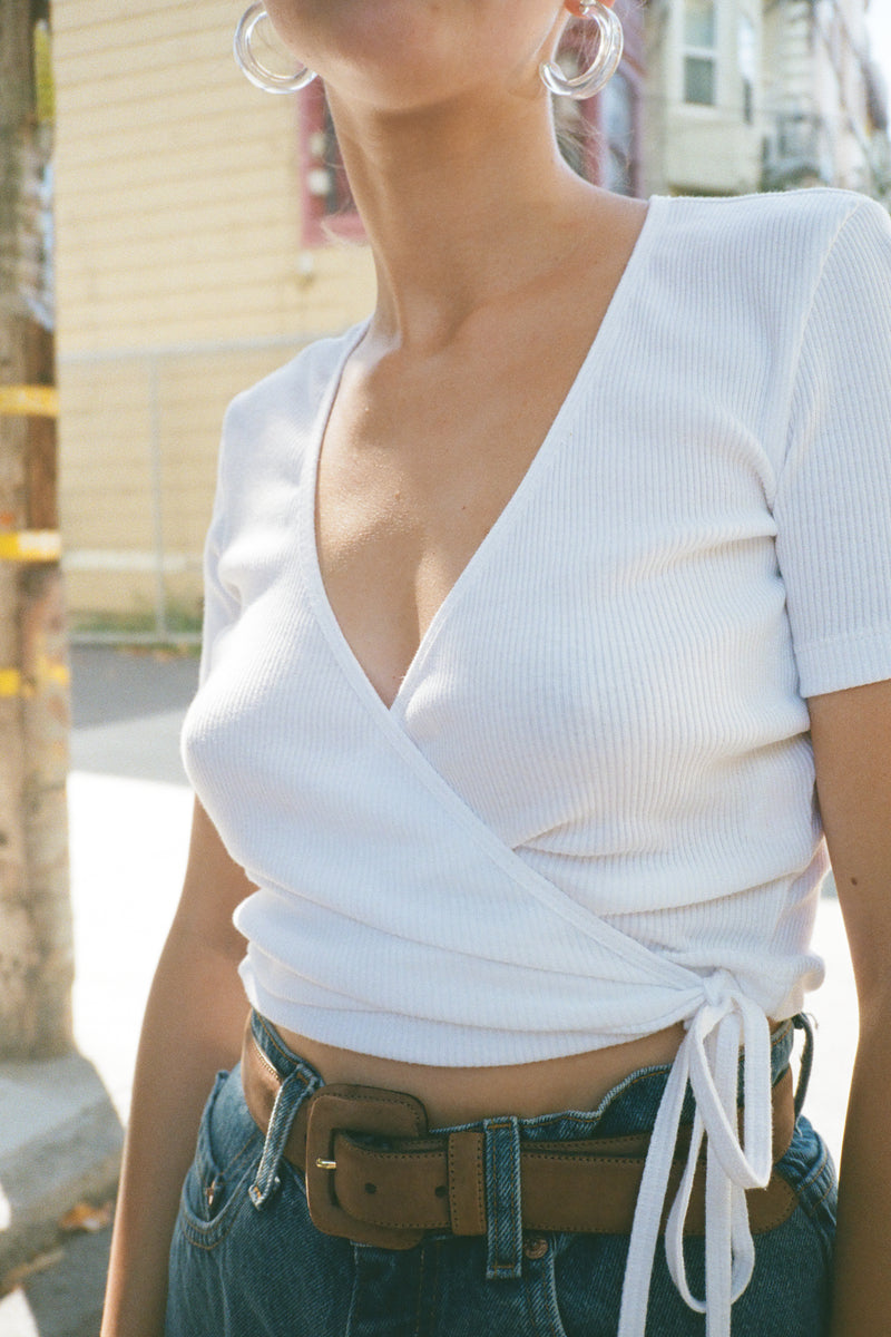 Lucille Wrap Top - White