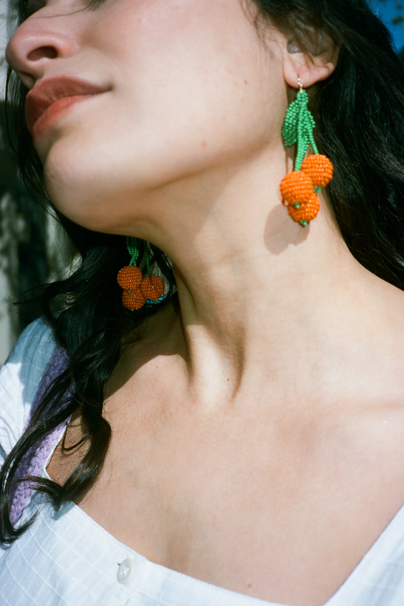 Tangerine Beaded Earrings - Orange