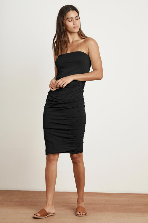DANNA GAUZY WHISPER SHIRRED STRAPLESS DRESS