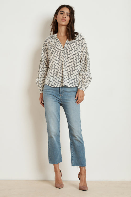 ERIKA PRINTED COTTON VOILE HALF-PLACKET BLOUSE