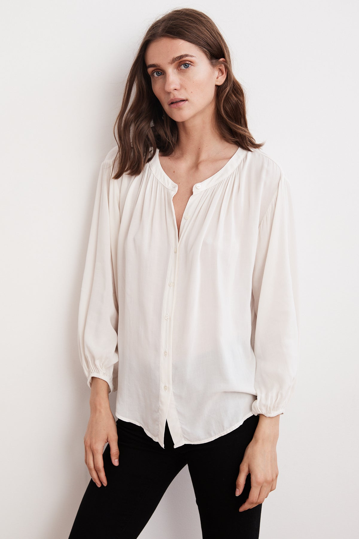 LEAH RAYON CHALLIS BUTTON UP TOP