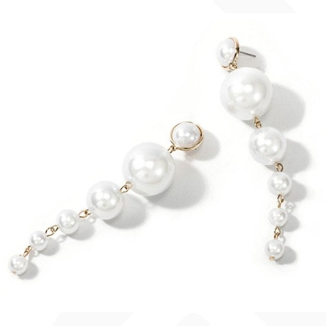 Big Pearl Drop Earrings, White