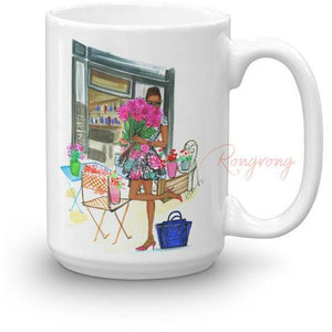 Stop and Smell the Roses Coffee Mug -Dark