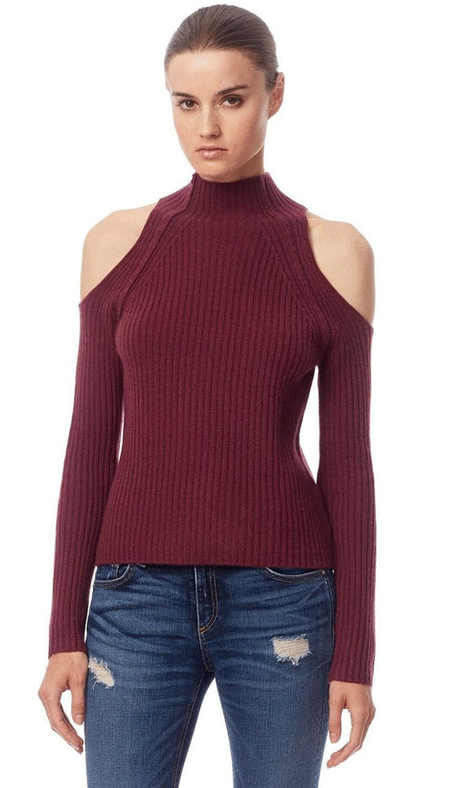 Gianna Cold Shoulder Sweater - Syrah