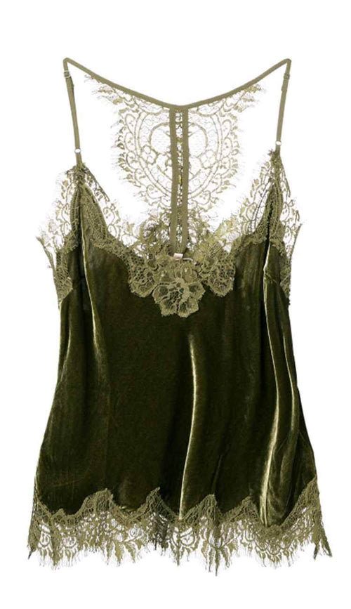 Velvet Cropped lace razorback cami duffle green by gold hawk