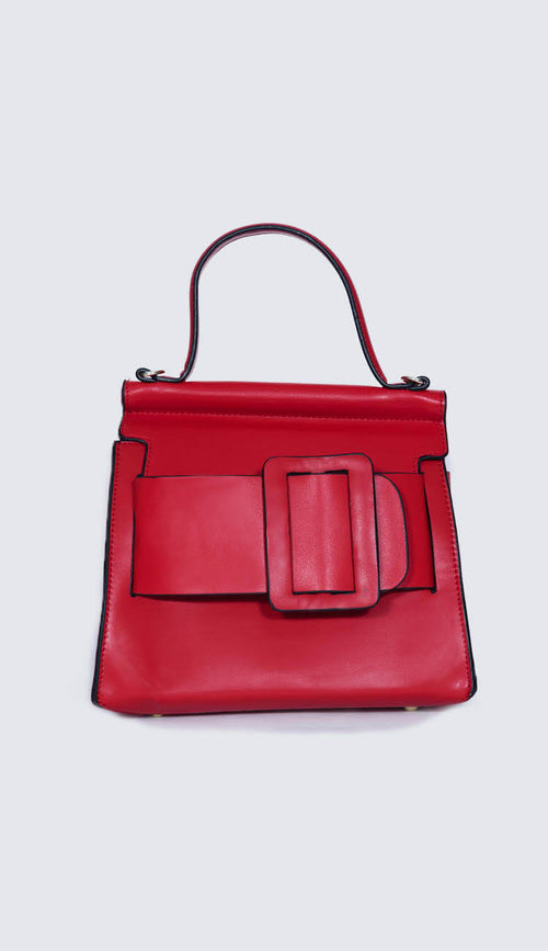 carl top handle handbag in red front view