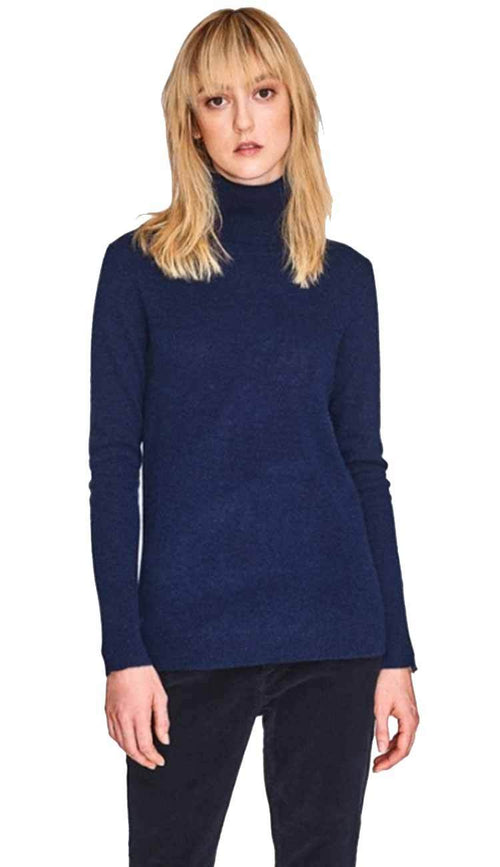 essential turtleneck in admiral blue by white and warren