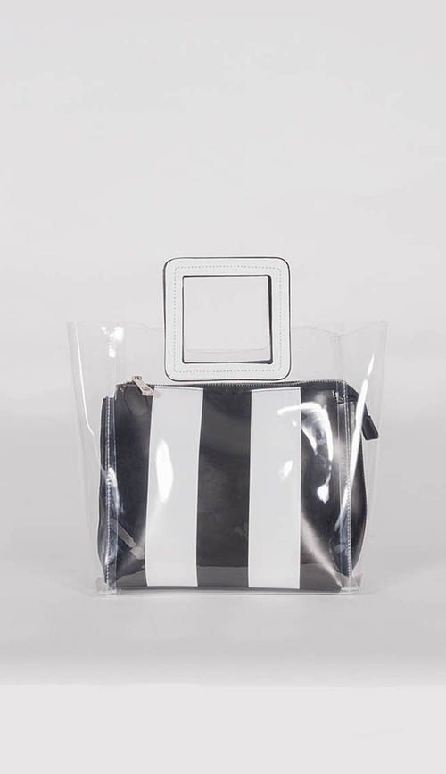 black and white stripe transparent bag side view by inzi