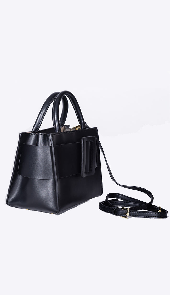 carl handbag by inzi side view in black