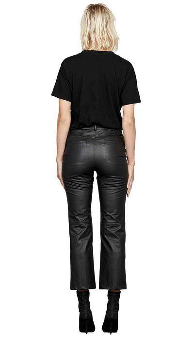 high rise button fly crop flare pant back view - david learner