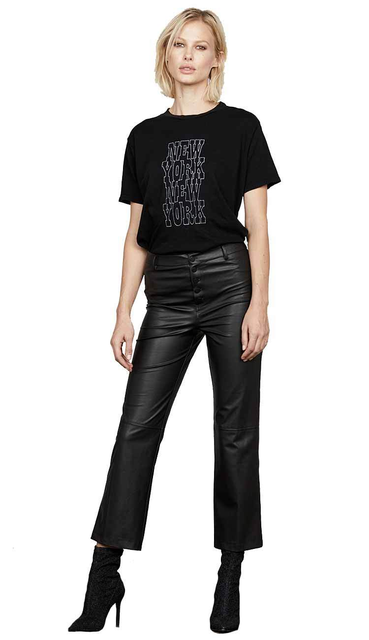 high rise crop flare leather pants - david learner