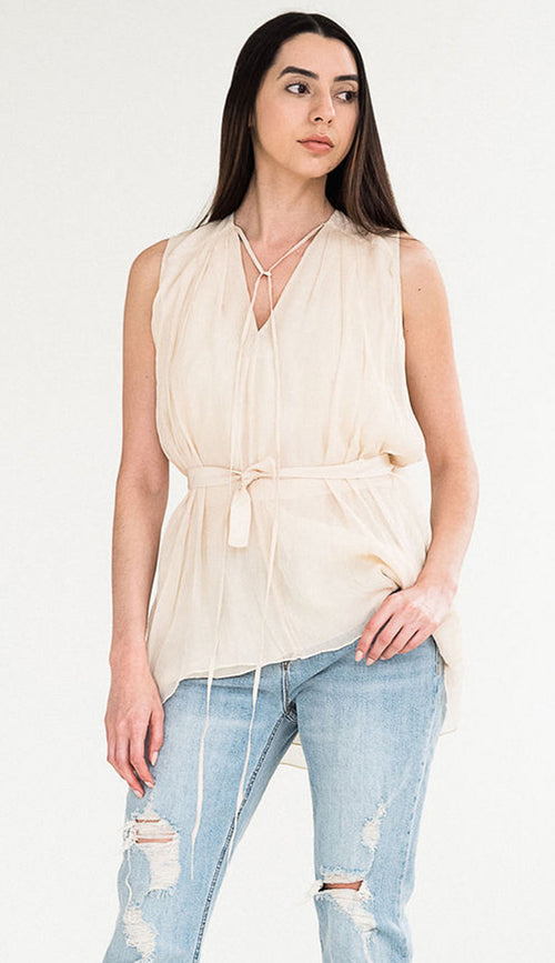 sleeveless silk tank by laural siegel front view