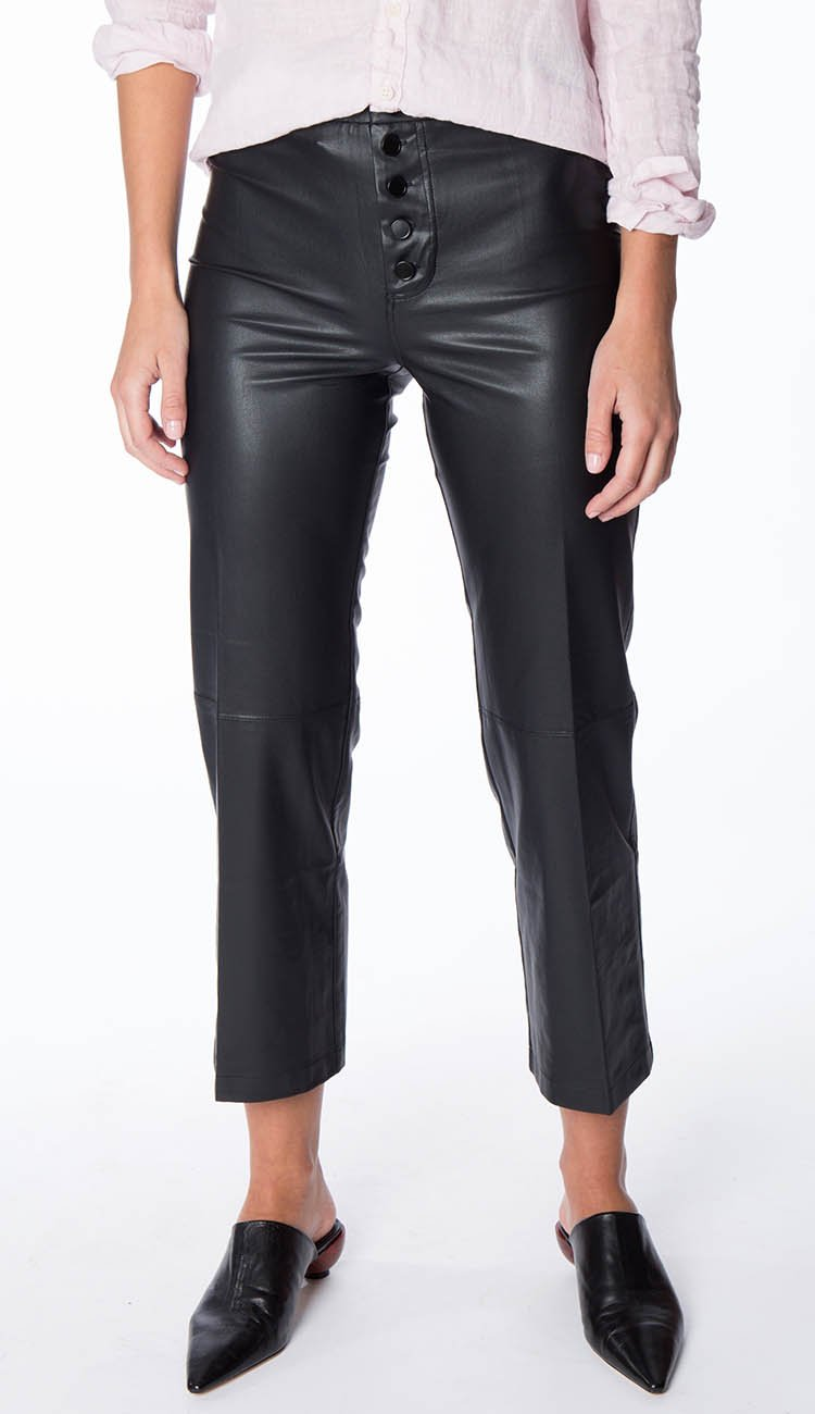 High Rise button fly crop flare black vegan leather pant by david lerner