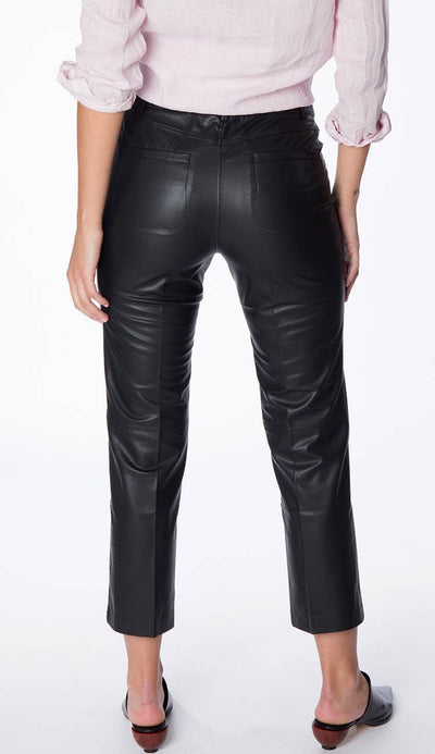 david lerner high rise button fly crop flare pant vegan leather back view