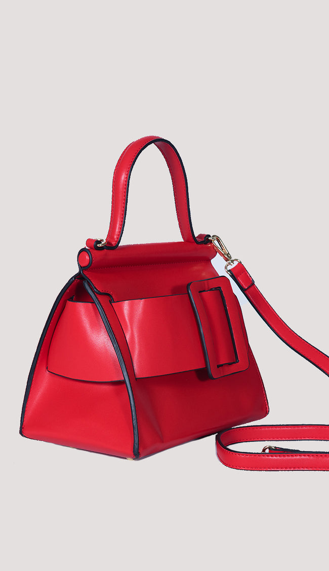 Carl top-handled handbag in red side view