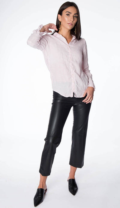 High Rise Button Fly Crop Flare Pant  - Black Vegan Leather