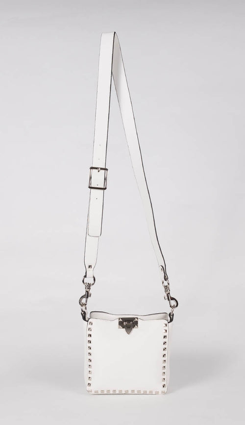 white mini studded crossbody bag by inzi