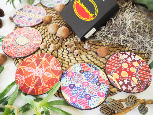 Authentic Aboriginal Coasters - Keringke Art