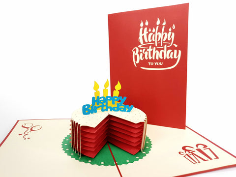 Sliced Happy Birthday Cake Red Pop Up Card