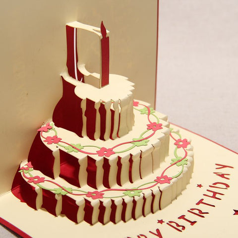 red birthday cake with one candle on the top 3d popup gift card