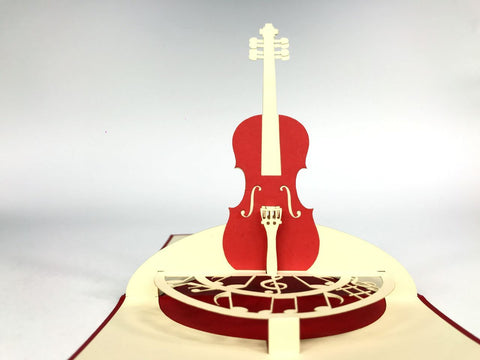 red chello instrument 3d pop up music card