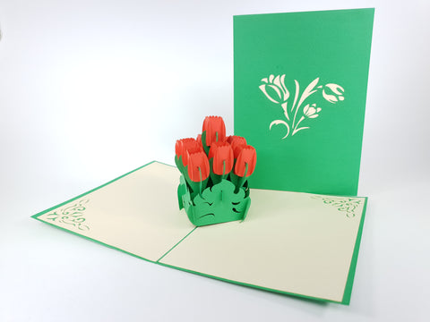 Tulip Vase Flower Pop Up Card