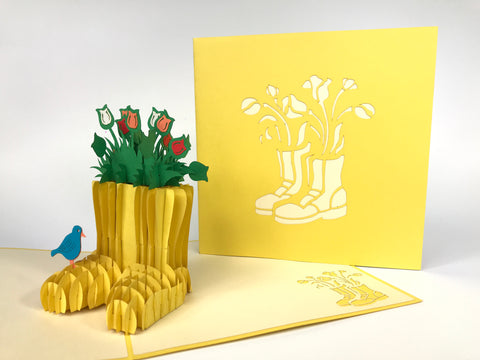 Tulips In Boots Pop Up Card