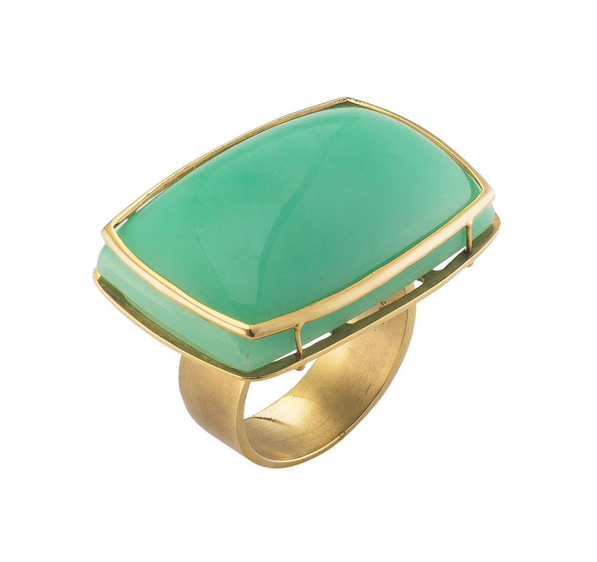 Golden Rectangular Chrysoprase Ring