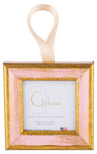 Pink w/ Cream Ribbon Frame Ornament