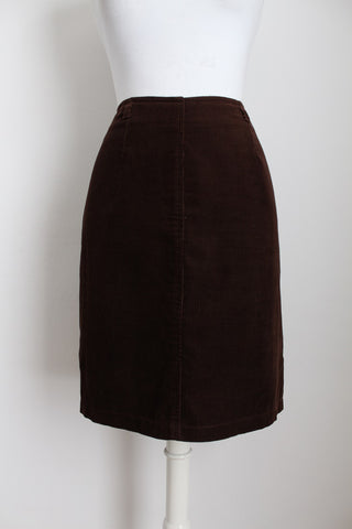 VINTAGE CORDUROY BROWN FITTED SKIRT - SIZE 12