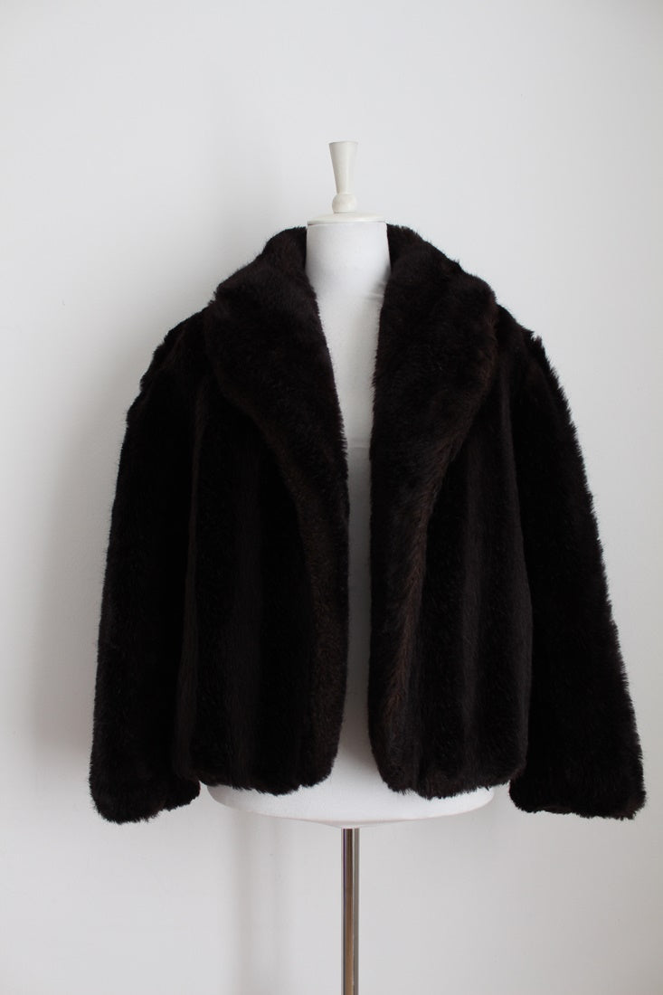 FAUX FUR VINTAGE BROWN COAT JACKET - SIZE LARGE