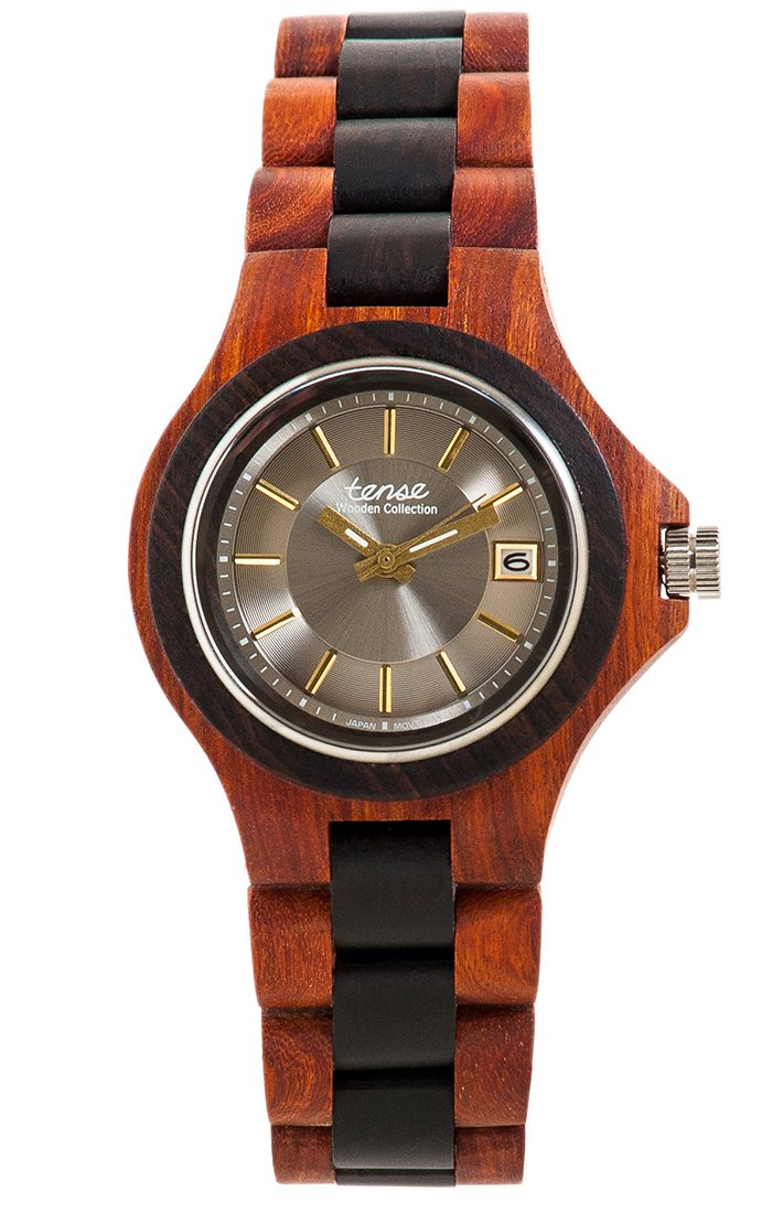 Tense Metro G4302SD-S/G Men's Wooden Watch w/ Calendar
